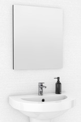 Ceramic Washbasin and Mirror