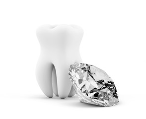 Tooth with diamond