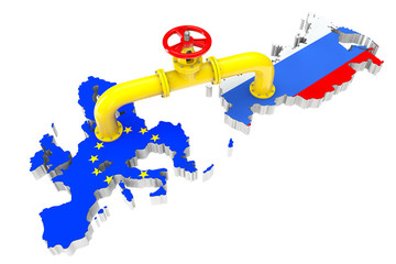 Gas pipeline over Russian and European Union maps