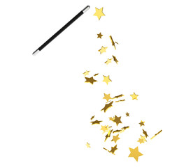Magic wand casting shiny golden stars