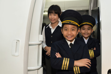 Capitan and cabin crew