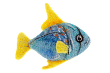 beautiful blue aquarium fish made of wool
