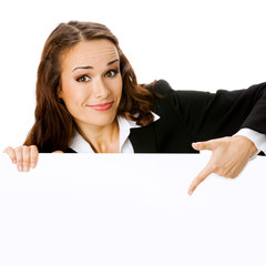 Businesswoman showing blank signboard, isolated