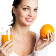 Woman with orange and juice, isolated