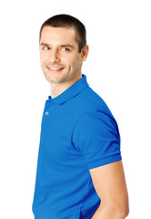 Portrait of happy smiling young man, isolated