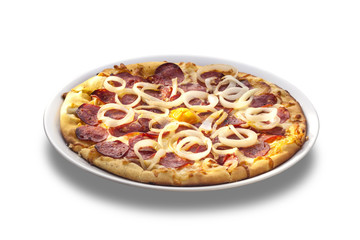 Pizza with cheese, salami and onion rings