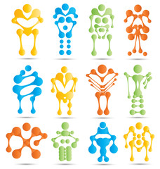 Stylized robots and robotics icon set