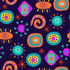 Decorative seamless pattern in psychedelic style