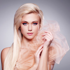 Portrait of a beautiful sensual blonde woman.