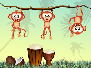 monkeys and drums
