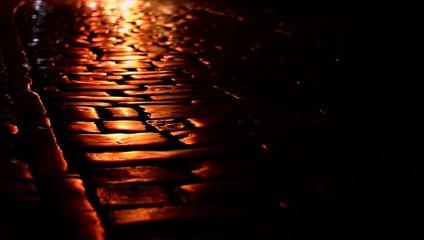 Shiny night pavement