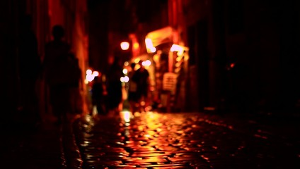 Dark street with strong lights