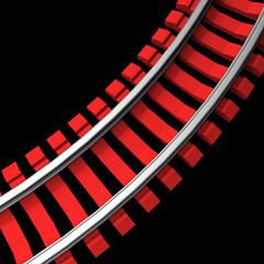 Single curved railroad track