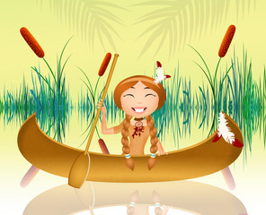 Indian girl in the canoe