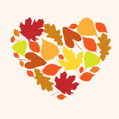 Symbol of love autumn in the form of heart