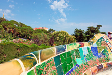 Ceramic mosaic Park Guell in Barcelona, Spain.
