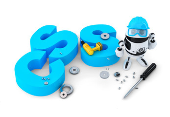 Robot with CSS sign. Technology concept. Isolated. Clipping path