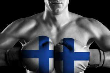 Black and white fighter with Finland color gloves