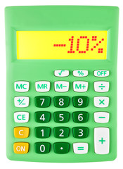 Calculator with -10% on display on white background