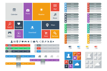 Web Design elements, buttons, icons. Templates for website.