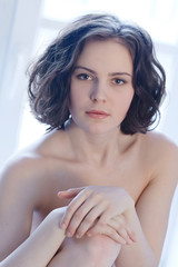 Portrait of young beatiful naked woman