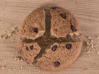 Broken chocolate cookie