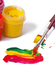 brushes, paints for drawing on a white background