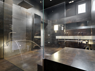 masonry shower cubicle and masonry bathtub