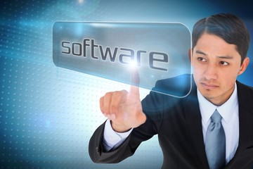 Businessman pointing to word software