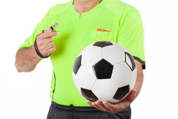 Referee and Ball - Stock Photo