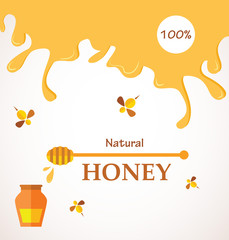 Natural honey; Honey streams, jar and bees isolated on white
