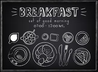 Vintage Poster. Breakfast menu. Set of sketches
