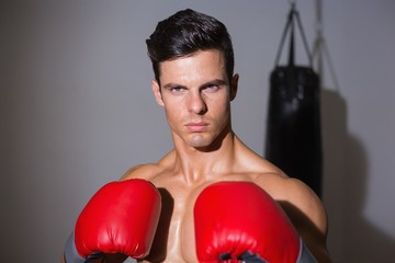 Portrait of a serious muscular boxer