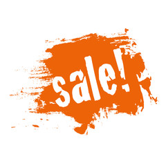 sale orange button schild