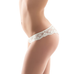 Sexy woman detail wearing white lingerie isolated on white backg