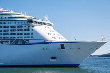 Bow of Luxury Cruise Ship in Blue Water