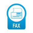 Etiqueta tipo app azul redonda FAX