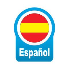 Etiqueta tipo app azul redonda Español
