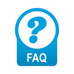 Etiqueta tipo app azul redonda FAQ