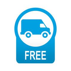 Etiqueta tipo app azul redonda furgoneta FREE