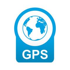 Etiqueta tipo app azul redonda GPS