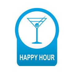 Etiqueta tipo app azul redonda HAPPY HOUR