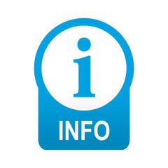 Etiqueta tipo app azul redonda INFO