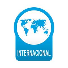 Etiqueta tipo app azul redonda INTERNACIONAL