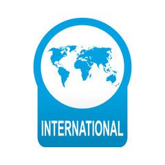 Etiqueta tipo app azul redonda INTERNATIONAL