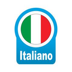Etiqueta tipo app azul redonda Italiano