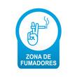 Etiqueta tipo app azul redonda ZONA DE FUMADORES