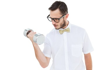 Geeky businessman lifting heavy dumbbell