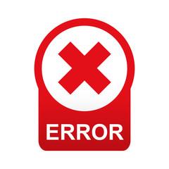 Etiqueta tipo app roja redonda ERROR