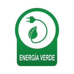 Etiqueta tipo app verde redonda ENERGIA VERDE